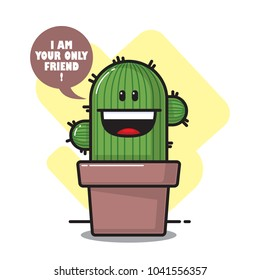 Funny cactus character. Vector illustration