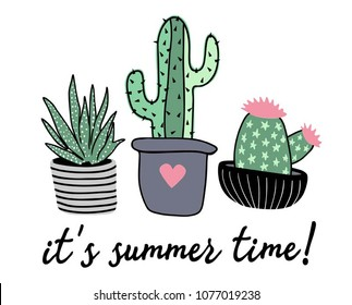 Funny Cactus illustration with typography. Summer Graphic. Lettering ' it's summer time ' Vector Illustration. Apparel Print