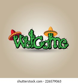 """Funny cactus in sombrero """"Welcome"""" sign"""