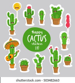 Funny cactus stickers. Vector illustrations can be used as a sticker.