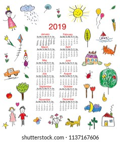 Funny calendar 2019 with kids drawings for children. Vector graphic illustration