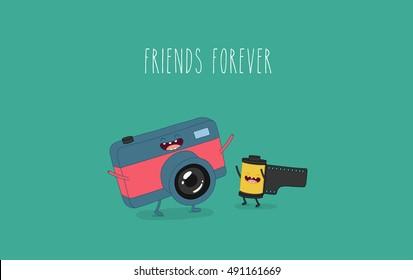 Funny camera and camera roll. Vector illustration.