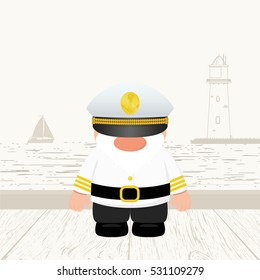 Funny Captain. Vector illustration