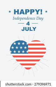 Funny card Happy 4th of July. Feast day of American Independence. Retro card with congratulations. Vector illustrations, love of country USA.
