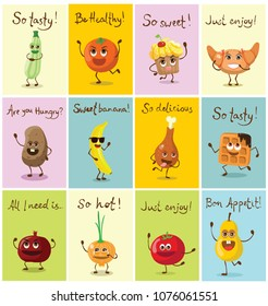 Funny cards with healthy and fast food characters with emotions, vector illustrations.