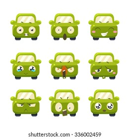 Funny Cars with Emoticons. Vector Illustration Set