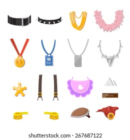 Funny Cartoon Accessory set and object - vector illustration