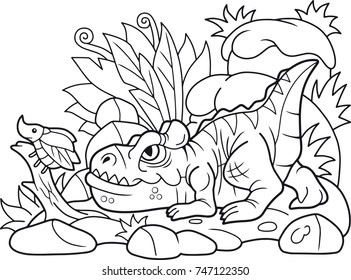 funny cartoon allosaurus hunts beetle