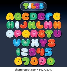 Funny Cartoon Alphabet. Multicolored Vector Font. Set of Isolated Symbols Logos for your Design