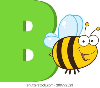 Funny Cartoon Alphabet-B With Bee. Vector Illustration Isolated on white