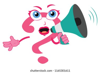 funny cartoon amazing question mark lady character holding a megaphone loudspeaker woman girl sexy announcing speaking loudly