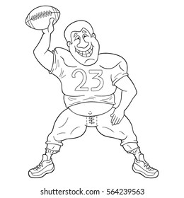 Funny cartoon american football player dancing with a ball. Black and white illustration