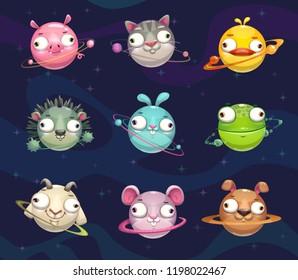 Funny cartoon animal planets set. Vector fantasy childish space icons.