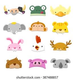 Funny Cartoon Animals Hat set - vector illustration