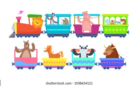Funny cartoon animals rides in cartoon trains. Zoo animals in toy train traffic, panda and bull, horse and lion. Vector illustration