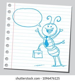 Funny cartoon ant businessman speaking