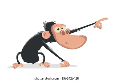 funny cartoon ape pointing at something important