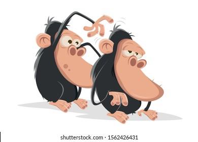 funny cartoon apes doing body care