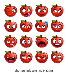 Funny cartoon apple character with different emotions on the face. Comic emoticon stickers set. Vector icons, isolated on white.