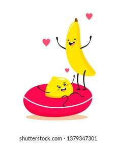 Funny and cartoon banana with lemon on an Swim ring. Vector fruit isolates on white background