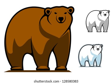 Funny cartoon bear for mascot or tattoo design, such as idea of logo. Jpeg version also available in gallery