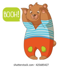 Funny cartoon bear in pants. Vector illustration. Good for design products for kids and for t-shirt printing.