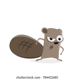 funny cartoon beaver is angry