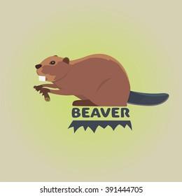 Funny cartoon beaver illustration,