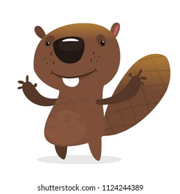 Funny cartoon beaver waving with his hands. Brown beaver mascot. Vector illustration