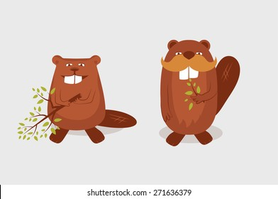 Funny cartoon beavers