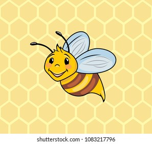 Funny cartoon bee on the background of honeycombs. Vector