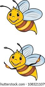 Funny cartoon bee. Vector