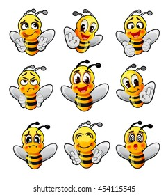 Funny cartoon bee vector collection