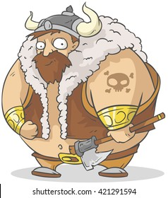 Funny cartoon big viking with axe
