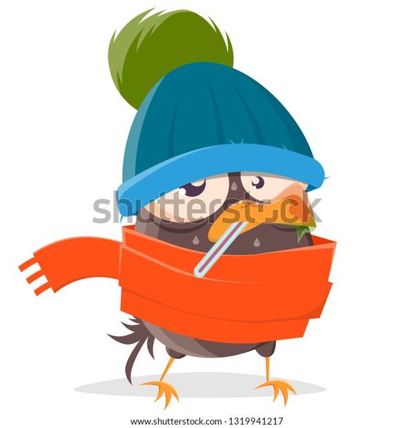funny cartoon bird is sick