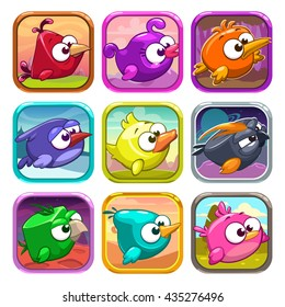 Funny cartoon birds app icons, game ui design elements, vector app store assets
