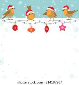 Funny cartoon birds with Christmas decoration.
