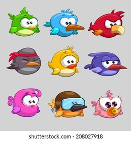 Funny cartoon birds, vector illustration