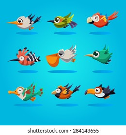 Funny cartoon birds, vector illustration set