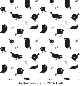 Funny cartoon birds and worms pattern over white background. Vector illustration