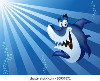 Funny cartoon blue shark swimming in blue ocean