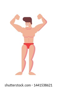 Funny Cartoon bodybuilder. Flat vector