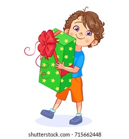 Funny cartoon boy with a big gift box in his hands. Vector cutout art.