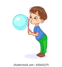 Funny cartoon boy diligently blows out a huge soap bubble. Cutout vector kids illustration.