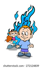 Funny Cartoon Boy and Girl with Icy Fire