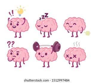 Funny cartoon brain character drawing set. Smart brain with lightbulb, sleeping, farting, thinking, training and dead. Cute vector hand drawn illustration.