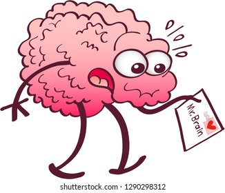 "Funny cartoon brain getting surprised when receiving a letter. The letter comes to ""Mr. Brain"" and has a stamp printed with a cartoon red heart"