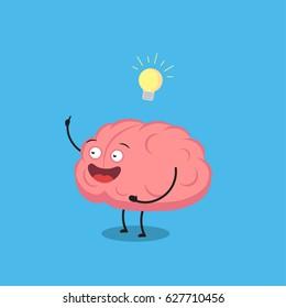 Funny cartoon brain have an idea. Vector illustration