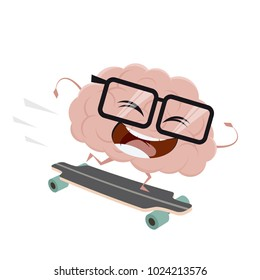 funny cartoon brain on skateboard