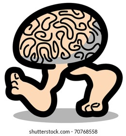 Funny, cartoon brain walking or running on two legs showing bare feet.